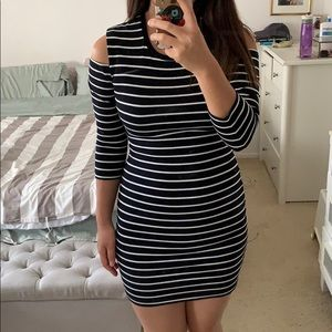 Striped dress with shoulder cut out